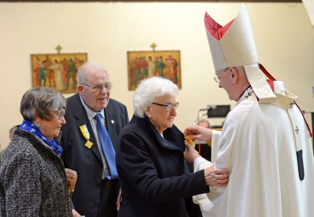 Presentation of Pope Francis Bene Merenti Medal to Mrs Margaret Creamer at Ss Ninian & Triduana,Feast of Christ The King, Sun 24th Nov 2019 by Archbishop Leo Cushley, with Fr Syriac Palakudiyil Administrator.Archbishop Cushley presents Margaret with the Bene Merenti with Her Husband John and Irene Turnbull whohad also been awarded the Bene Merenti previously.Photo by and copyright of Paul Mc Sherry 07770 393960 @Paulmcsherry2