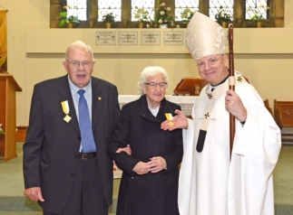 Presentation of Pope Francis Bene Merenti Medal to Mrs Margaret Creamer at Ss Ninian & Triduana,Feast of Christ The King, Sun 24th Nov 2019 by Archbishop Leo Cushley, with Fr Syriac Palakudiyil Administrator.Archbishop Cushley presents Margaret with the Bene Merenti with Her Husband John and Irene Turnbull whoalso been awarded the Bene Merenti previously.Photo by and copyright of Paul Mc Sherry 07770 393960 @Paulmcsherry2